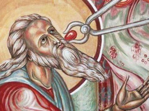 Sfântul Prooroc Isaia primind cărbunele cel încins, care simboliza Trupul şi Sângele Domnului.